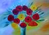 Mohnblumen in blauer Vase
